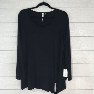 NY COLLECTION Black Long Sleeve Top Size 1X